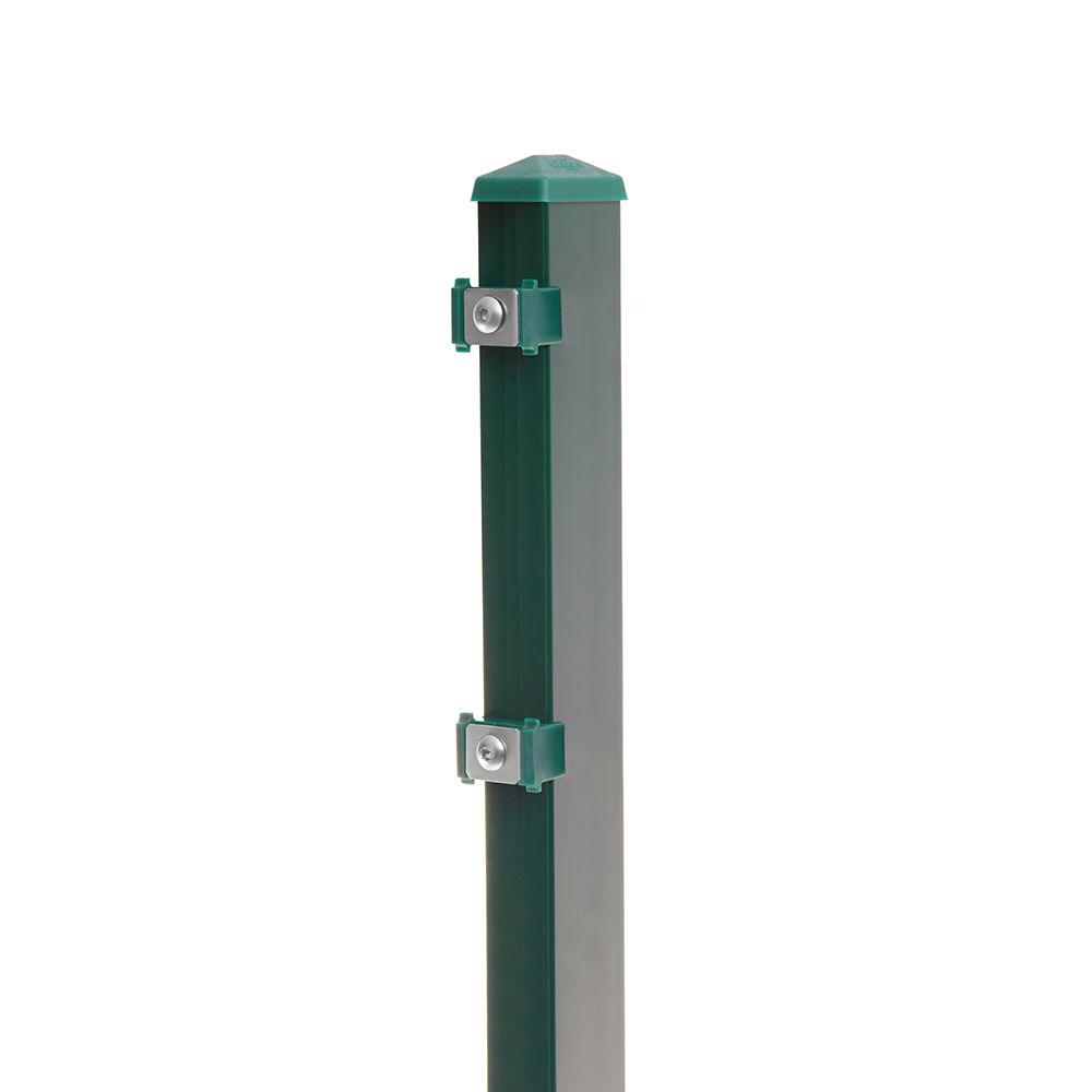 Pfosten Typ 6 Höhe 0,63 m mit Klemmteile verzinkt und moosgrün RAL 6005
