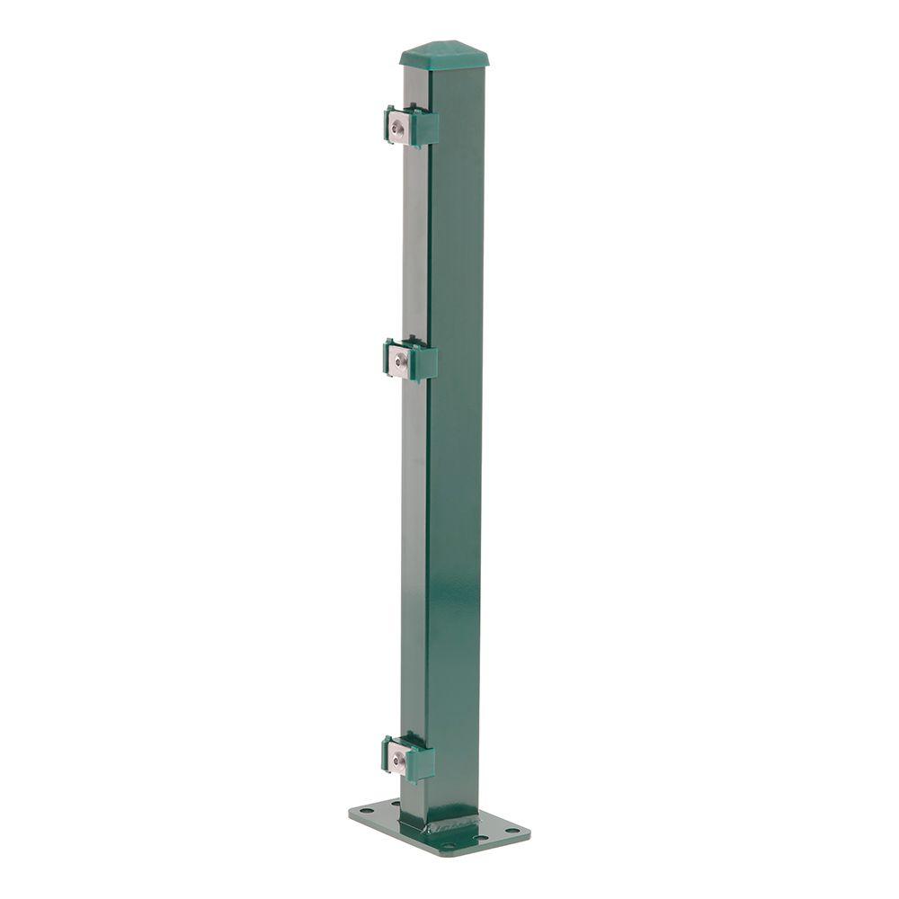 Pfosten Typ 1 Höhe 2,03 m mit Klemmteile und Dübelplatte verzinkt und moosgrün RAL 6005