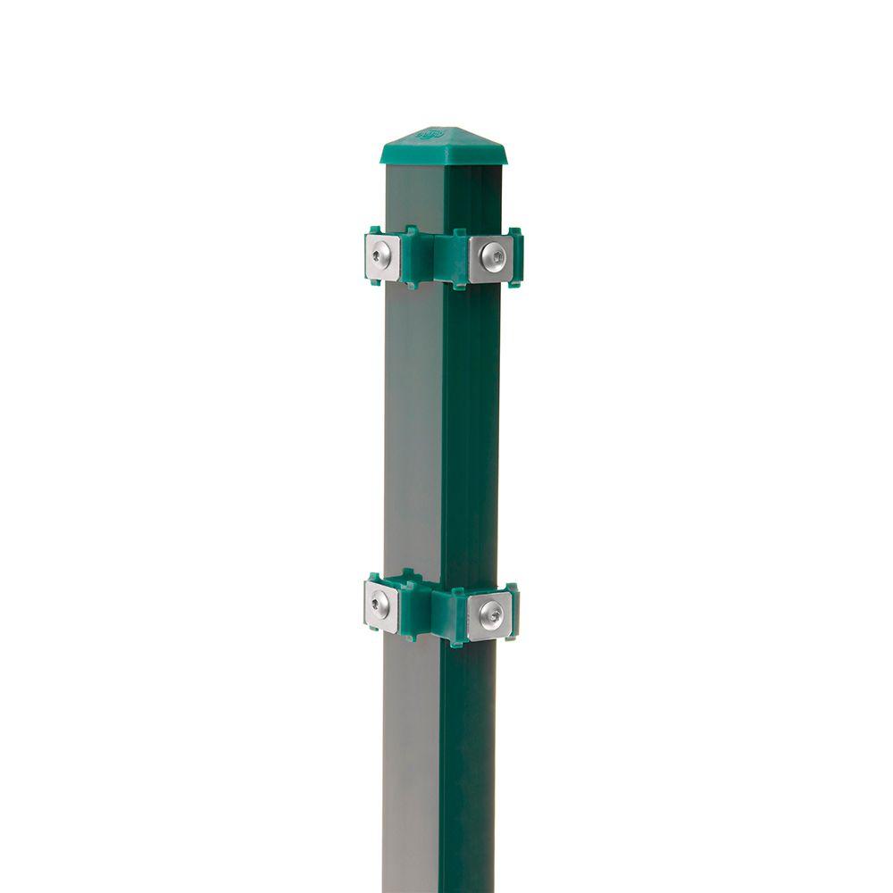 Eck-Pfosten-Links Typ 6 Höhe 2,03 m mit Edelstahl-Clips verzinkt und moosgrün RAL 6005