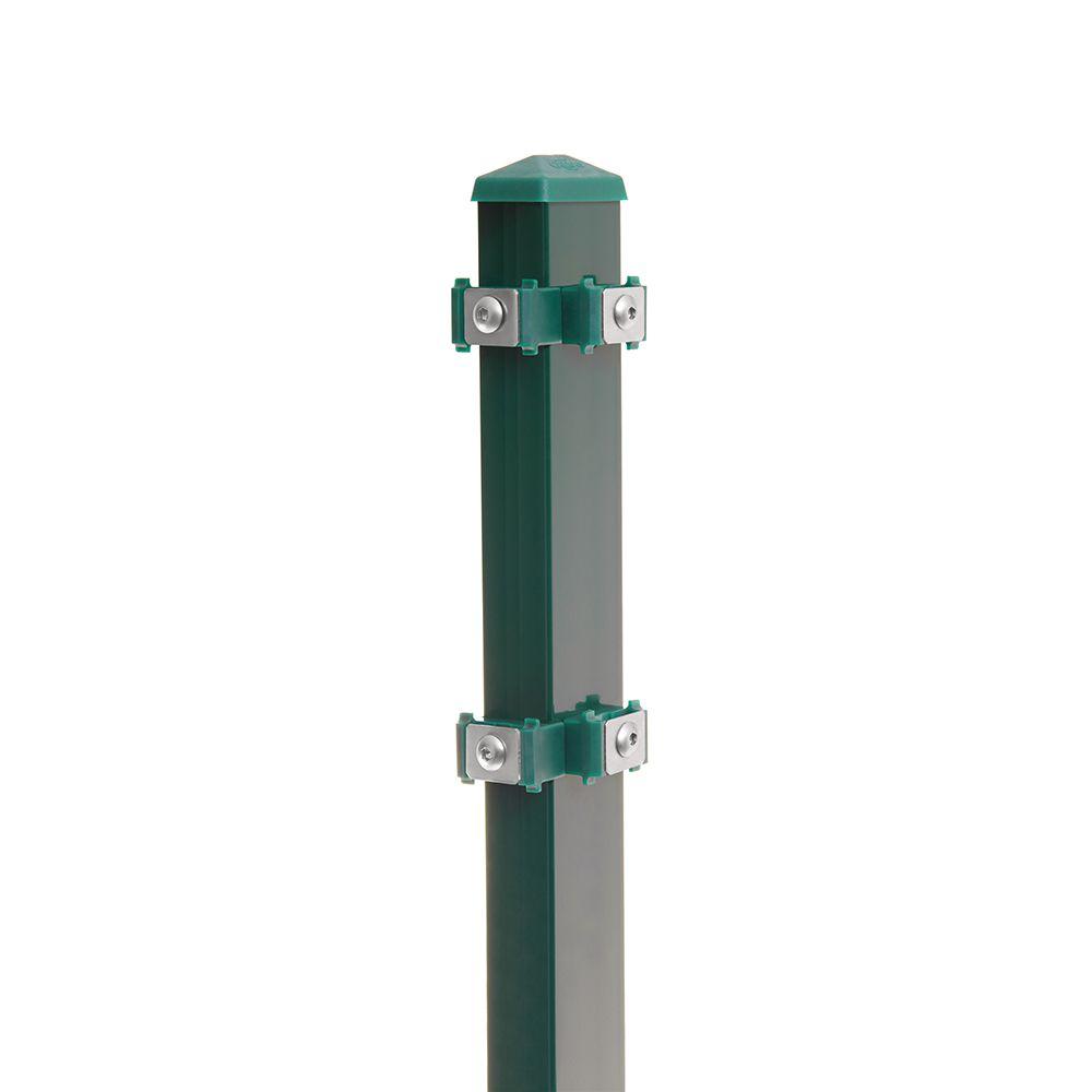 Eck-Pfosten-Rechts Typ 6 Höhe 2,03 m mit Edelstahl-Clips verzinkt und moosgrün RAL 6005