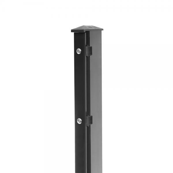 Pfosten Typ 1 Höhe 1,23 m mit Abdeckleiste verzinkt und anthrazit RAL 7016