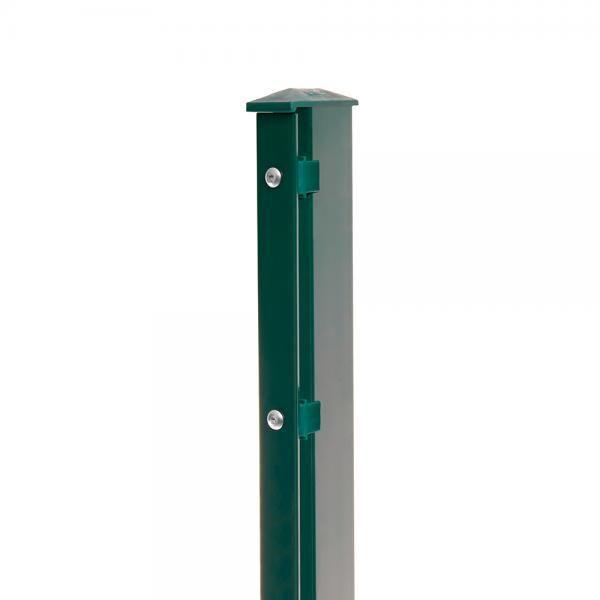 Pfosten Typ 1 Höhe 2,03 m mit Abdeckleiste verzinkt und Moosgrün RAL 6005