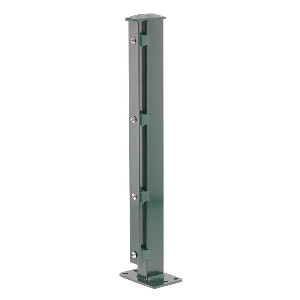 Produktbild Pfosten Typ 1 Höhe 1,43 m mit Abdeckleiste und Dübelplatte verzinkt und moosgrün RAL 6005