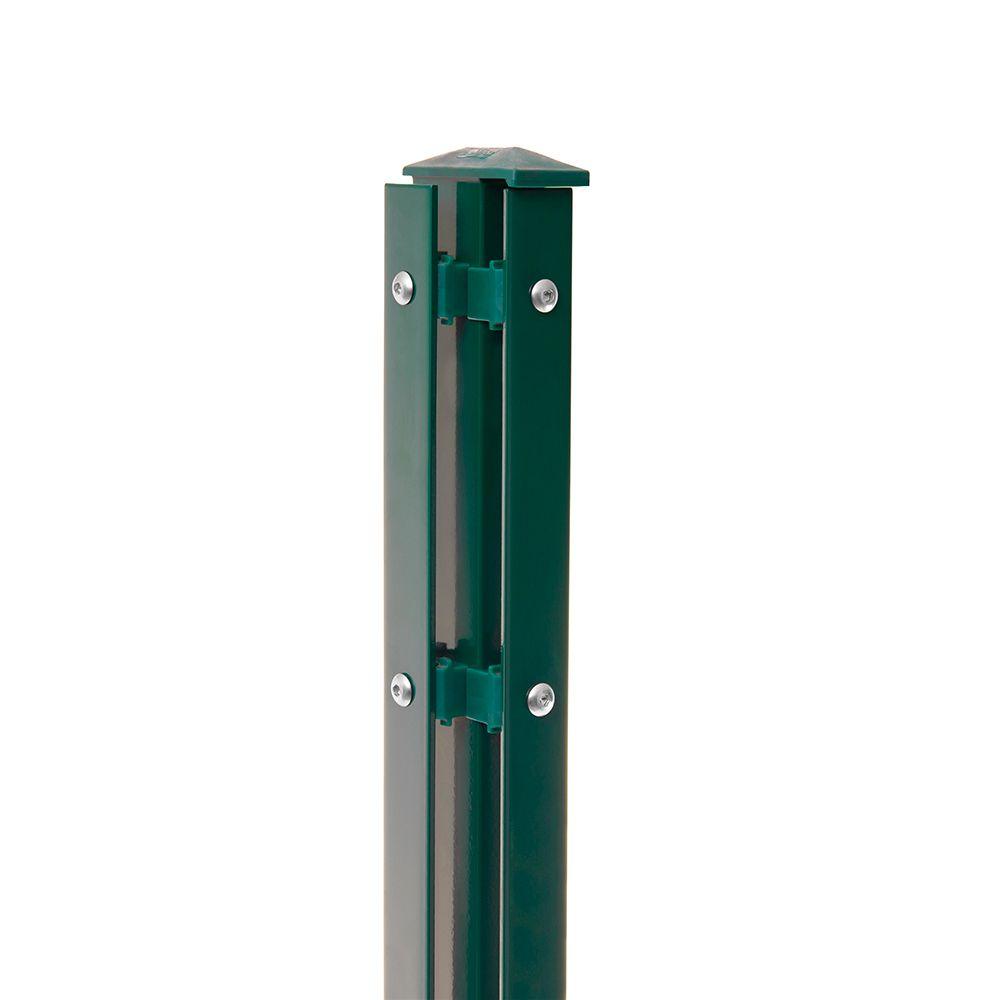 Eck-Pfosten-Links Typ 1 Höhe 0,63 m mit Abdeckleiste verzinkt und moosgrün RAL 6005