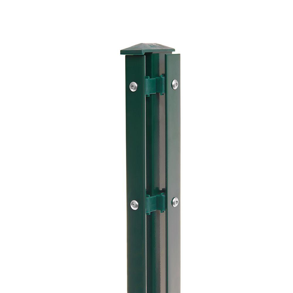 Eck-Pfosten-Rechts Typ 1 Höhe 0,63 m mit Abdeckleiste verzinkt und moosgrün RAL 6005
