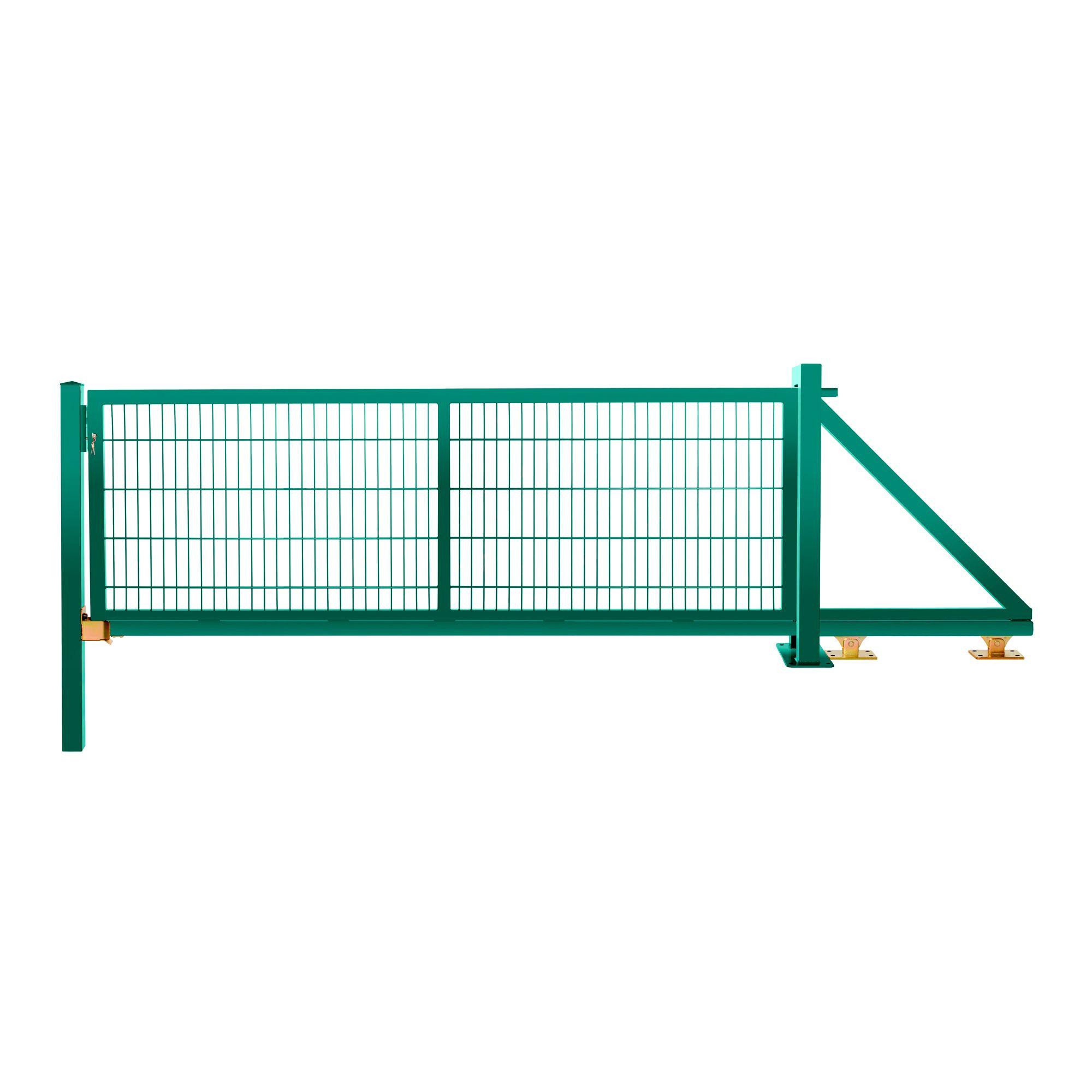 Schiebetor freitragend 1,03 m 3,00 m breit RAL 6005 moosgrün
