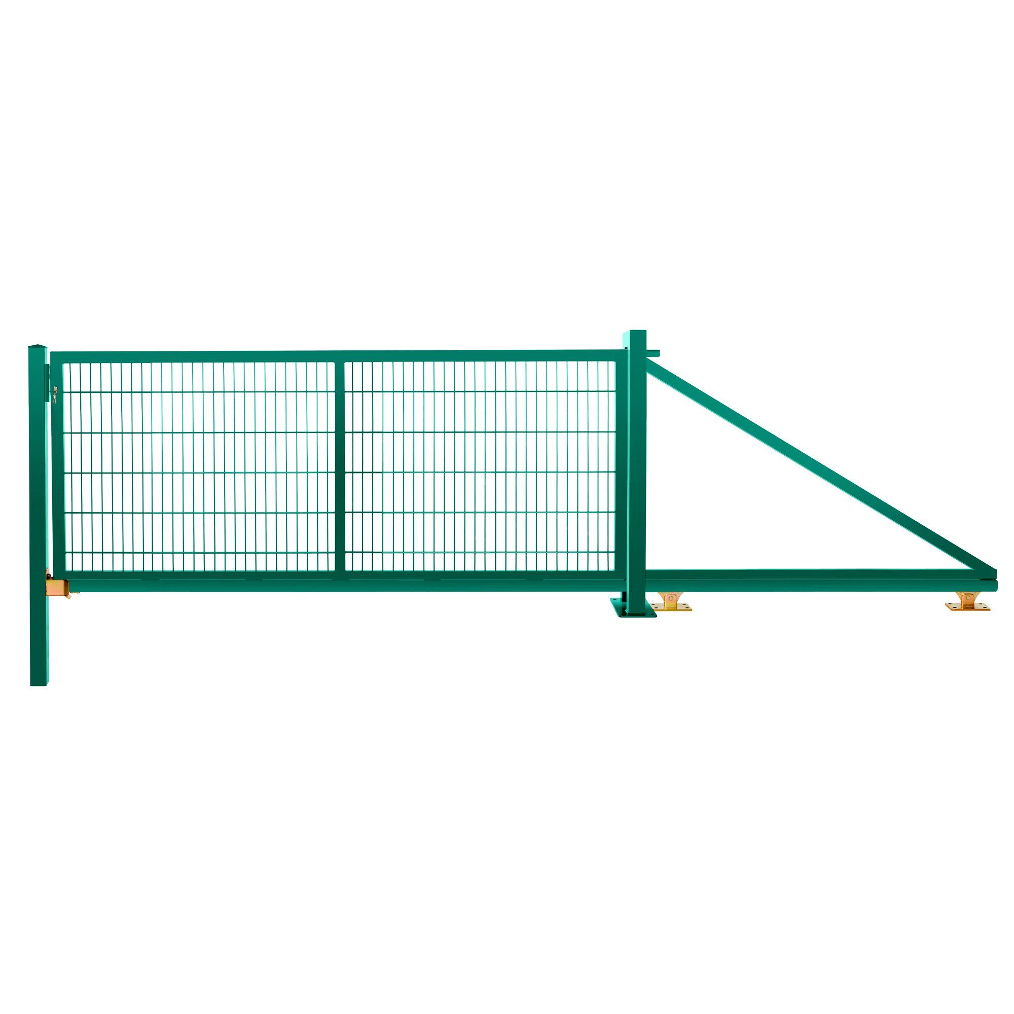 Schiebetor freitragend 1,23 m 3,00 m breit RAL 6005 moosgrün