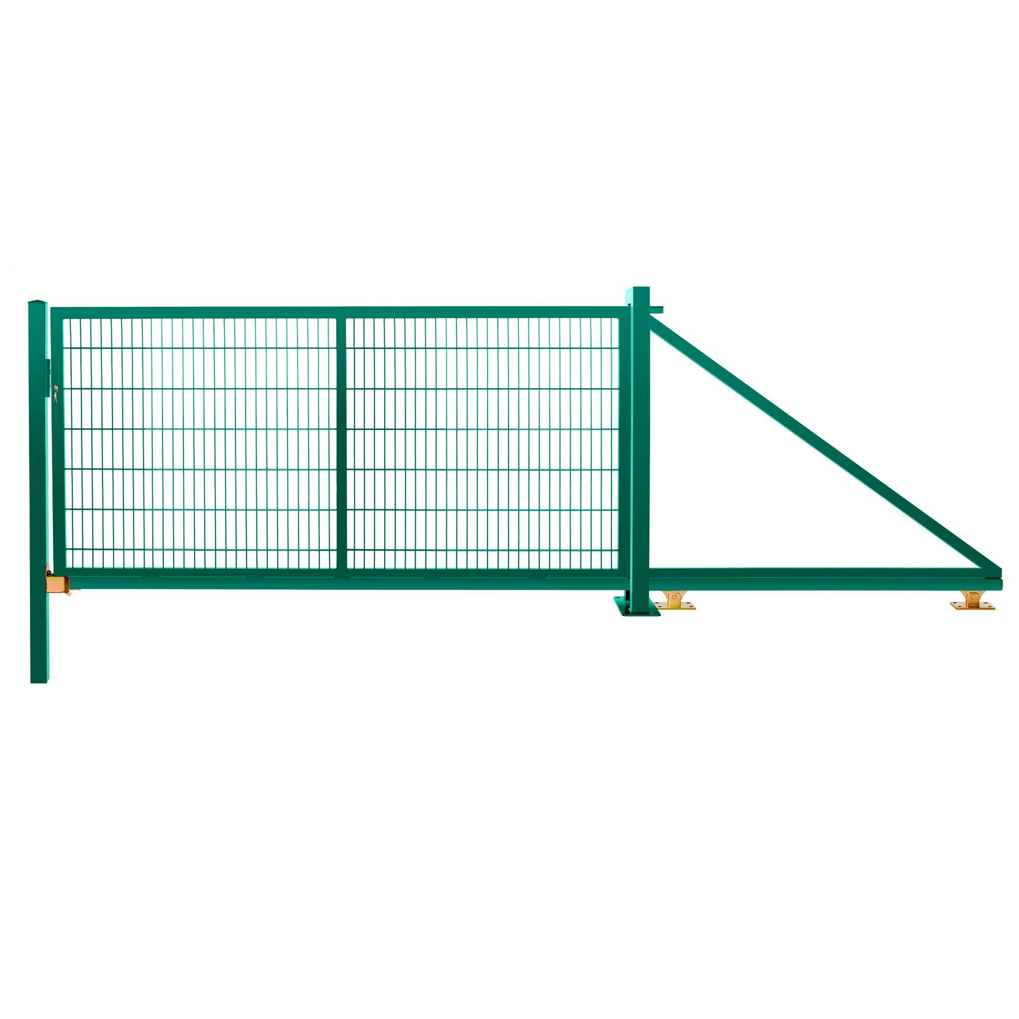 Schiebetor freitragend 1,43 m 3,00 m breit RAL 6005 moosgrün