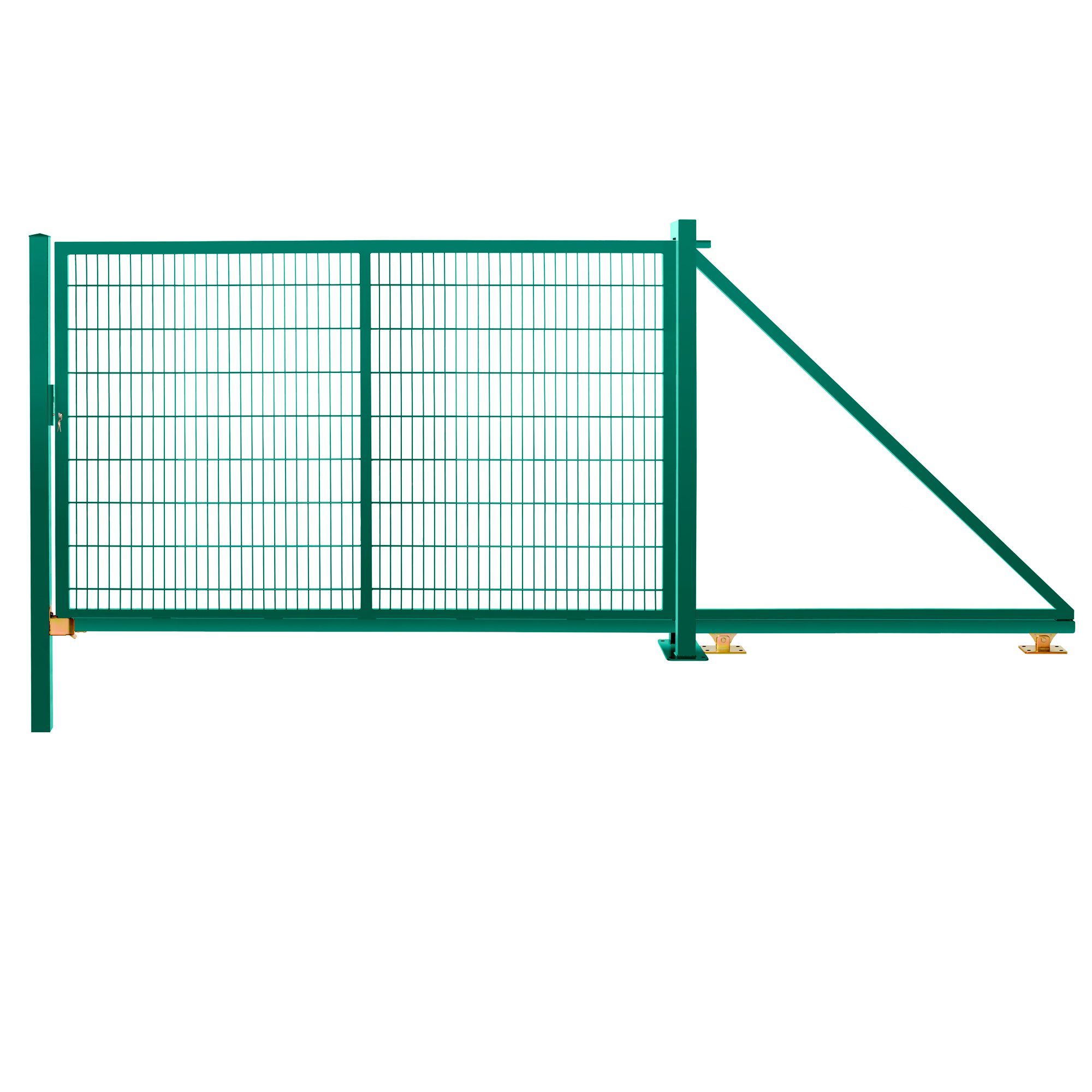 Schiebetor freitragend 1,83 m 3,00 m breit RAL 6005 moosgrün