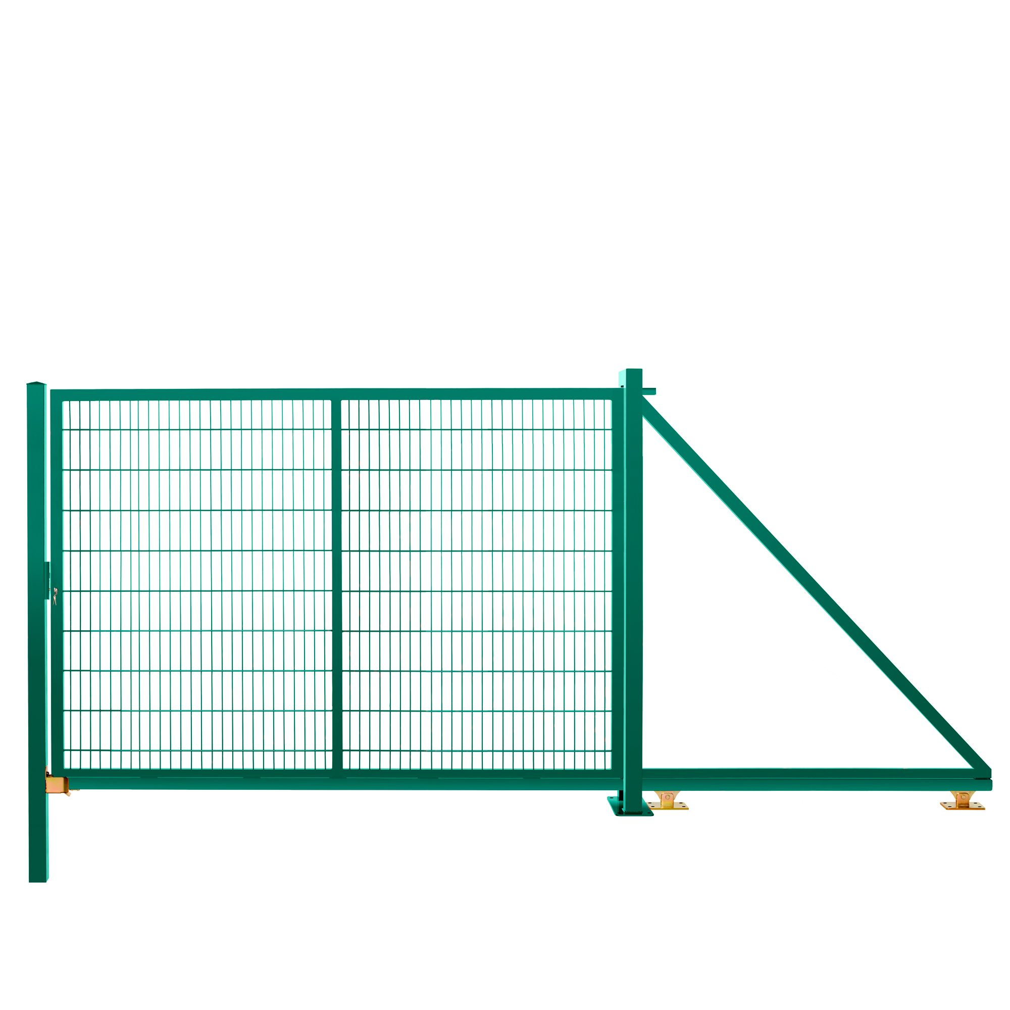 Schiebetor freitragend 2,03 m 3,00 m breit RAL 6005 moosgrün