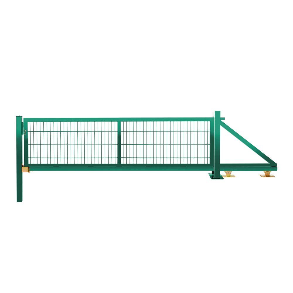 Schiebetor freitragend 0,83 m 3,00 m breit RAL 6005 moosgrün