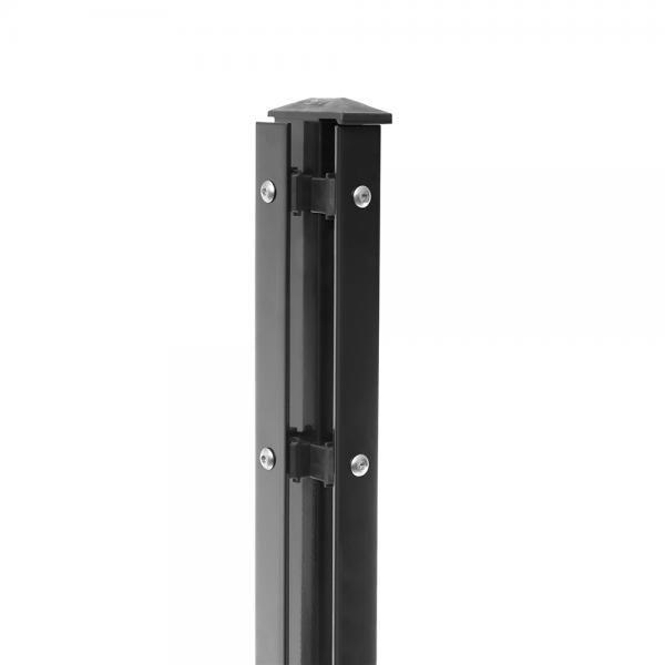 Eck-Pfosten Links Typ 1 Höhe 1,23 m mit Abdeckleiste verzinkt und anthrazit RAL 7016 - zum aufdübeln