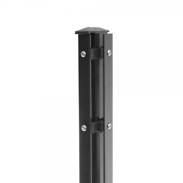 Eck-Pfosten Rechts Typ 1 Höhe 2,03 m mit Abdeckleiste verzinkt und anthrazit RAL 7016 - zum aufdübeln