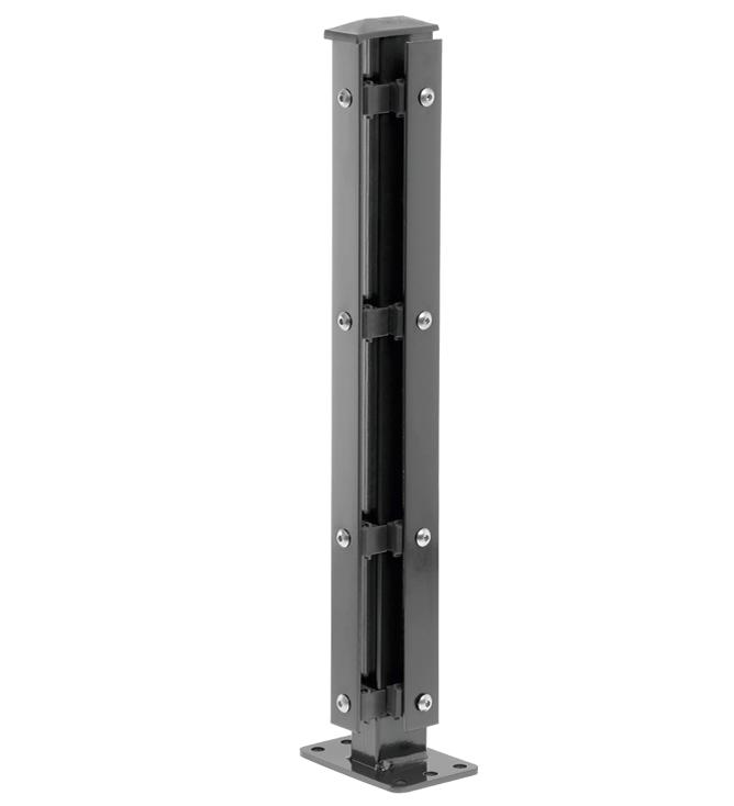 Eck-Pfosten Rechts Typ 1 Höhe 1,23 m mit Abdeckleiste verzinkt und anthrazit RAL 7016 - zum Aufdübeln