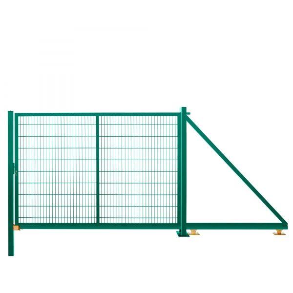 Schiebetor freitragend 2,03 m 3,50 m breit RAL 6005 moosgrün