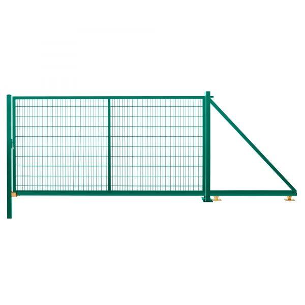 Schiebetor freitragend 2,03 m 4,50 m breit RAL 6005 moosgrün