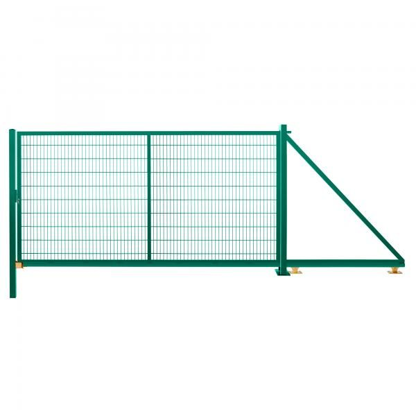 Schiebetor freitragend 2,03 m 4,00 m breit RAL 6005 moosgrün
